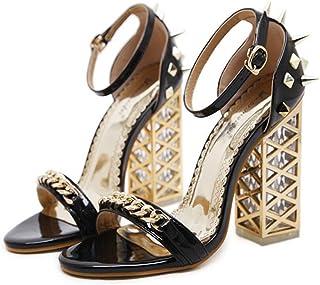GLJJQMY Women's High Heels Spring and Summer Crystal Platform Sandals Comfortable Rivets Shoes Black Apricot 34-40 Yards Women's Sandals (Color : Black, Size : 35)