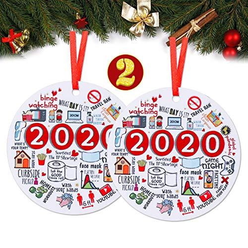 2Pack 2020 Christmas Pendants Year of Quarantine Keepsake Christmas Tree