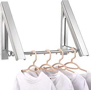 Aluminium Foldable & Retractable Clothes Racks - Waterproof Indoor Outdoor Wall Mounted Clothes Drying Rack - Laundry Hangers Wall Mount - Home Storage Organization Space Savers for Living Room