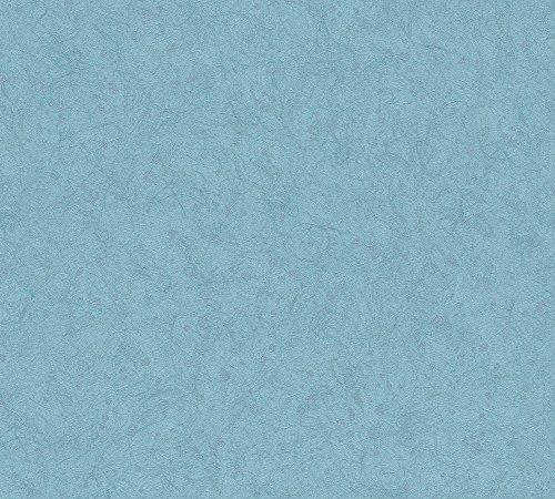 A.S. Création Vliestapete Saffiano Tapete Unitapete Vintage Optik 10,05 m x 0,53 m blau metallic Made in Germany 339861 33986-1