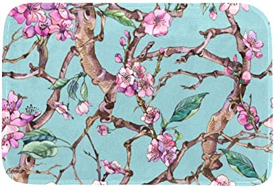 EGGDIOQ Doormats Spring Cherry Pink Flowers Blooming Illustration Custom Print Bathroom Mat Waterproof Fabric Kitchen Entrance Rug, 23.6 x 15.7in