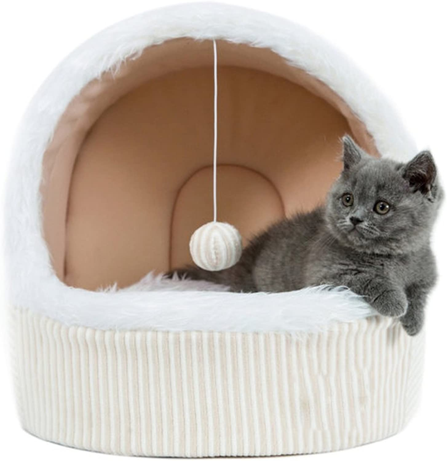 NSHK Cat Bed Cave Playing Tent Winter Mongolian Cat Yart Kitten Snug With Ball Hanging Toy Detachable DoubleSided Mat Cat's Paradise, Beige,S