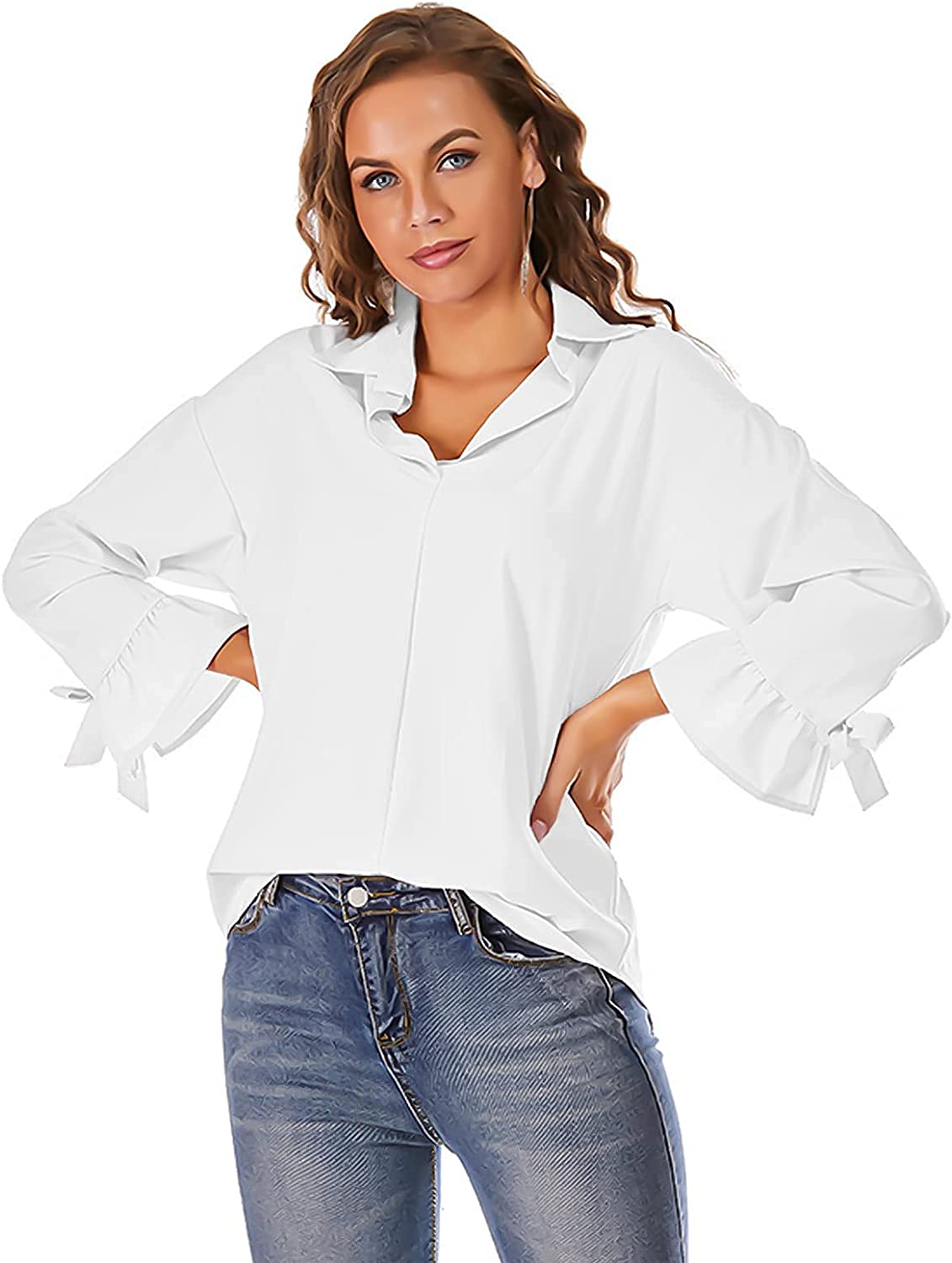 Womens V Neck Collared Shirts Casual Bell Long Sleeve No Button Down Cotton Shirts Work Blouse Tops