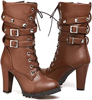 Ifantasy Fashion Women's Lace Up Ankle Booties Punk Rock Rivet Chunky Heel Leather Military Combat Boots