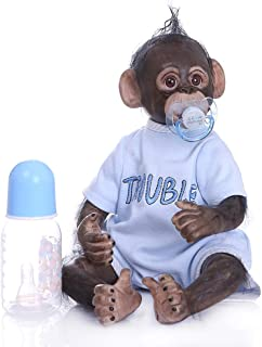 GMSP 40cm Realistic Silicone Reborn Dolls Newborn Baby Monkey Lifelike Novelty Gift for Infants Kids