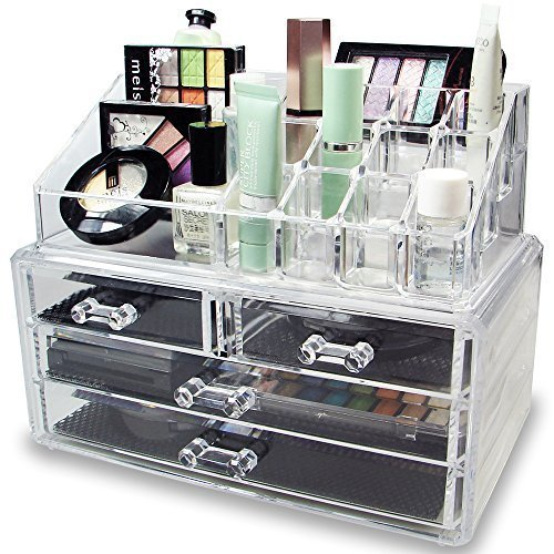 Inditradition Dressing Table Cosmetic Make up and Jewelry Organizer Acrylic, Unbreakable, Transparent Drawers (24 x 14 x 19 cm)
