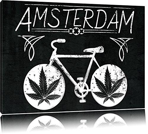 Pixxprint Amsterdam Black Format: 80x60auf Leinwand, XXL riesige Bilder fertig gerahmt mit Keilrahmen, Kunstdruck auf Wandbild mit Rahmen, günstiger als Gemälde oder Ölbild, kein Poster oder Plakat