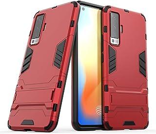nh ケース 対応VIVO V7 ケーススリムで薄い水平キックスタンド [スクリーンプロテクターき2個付] ドロッププロテクションファッション電話ケースバンパーカバーVIVO V7用(赤)