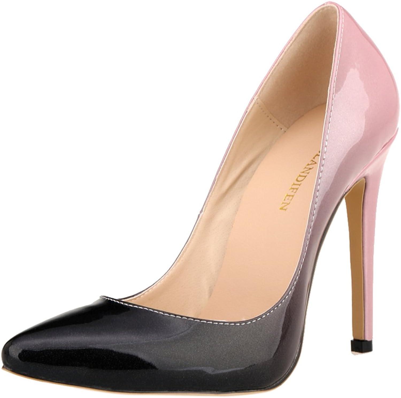 Loslandifen Women's Pionted Toe Double color Pumps Slender Leather Stiletto High Heels Wedding shoes
