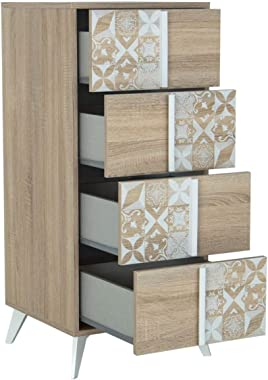 CaliCosy Chiffonnier 4 tiroirs de Rangement Chloe - Fabrication Française
