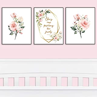 Girl's Room Decor - She is More Precious Than Jewels   Decorative & Easy to Frame Prints 8x10-inch   3 - (UNFRAMED) Prints   Floral Wall Art for Baby Girl Nursery or Girl's Bedroom
