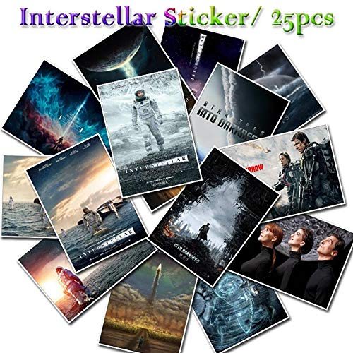 25 PCS Interstellar Sticker Sci-Fi Movie Decals Stickers Gifts for Kid To Laptop Suitcase Guitar Fridge Bicycle Car Graffiti Toy