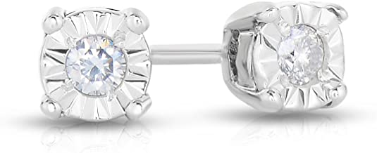 Genuine Round Brilliant Diamond Miracle Stud Earring Available in 14K Gold or 925 Sterling Silver