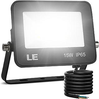 LE Foco LED de 15W, 1500 lúmenes, IP65 resistente al agua, Foco LED Exterior, Blanco Frío 5000 K, Ángulo de haz 120°, Foco Proyector LED para Jardín, Garaje, Hotel, Patio, etc.
