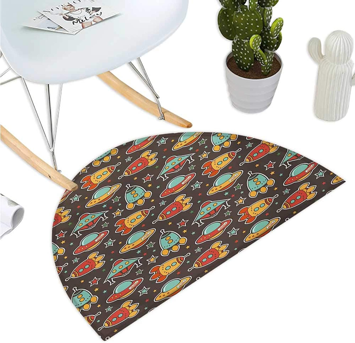 Space Semicircular Cushion Outer Space Elements Rockets UFO and Crafts Stars Heavenly Bodies Funny Alien Cartoon Entry Door Mat H 51.1  xD 76.7  Multicolor