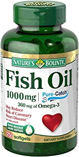 Nature's Bounty Fish Oil 1000 mg Cholesterol Free, 250 Rapid Release Liquid Softgels (Pack of 3) (Packaging May Vary)