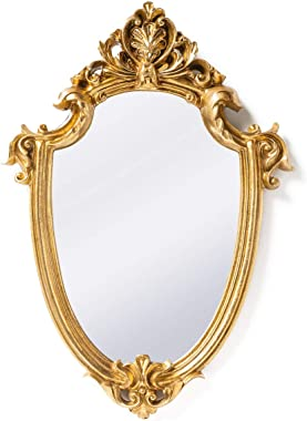 Funerom Vintage 11.6¡Á9 inch Decorative Wall Mirror Gold Shield Shape