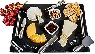 مجموعة ألواح الجبن من سليت | 9 قطع - صينية تقديم مقاس 40.64 سم × 30.48 سم، مجموعة سكين جبن من الفولاذ المقاوم للصدأ مع أوع...
