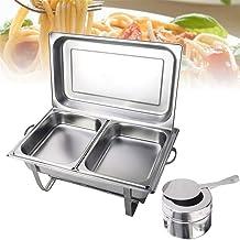 SATISFYOK Chauffe-plat en acier inoxydable avec récipient chauffant 7,5 l