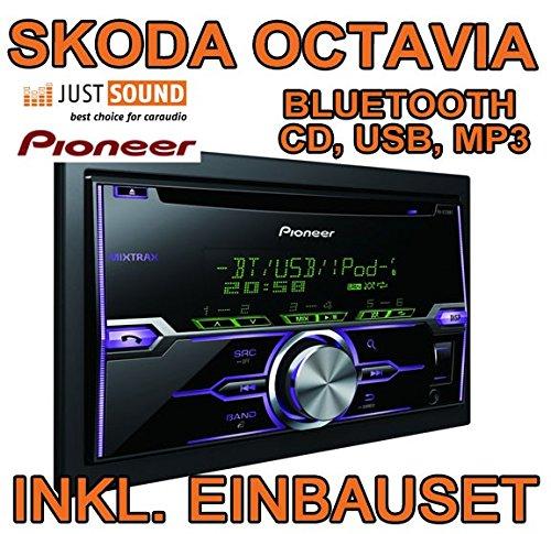 Schwarz - Pioneer FH-X720BT - 2DIN Bluetooth USB - Autoradio Einbauset für Skoda Octavia 1Z - JUST SOUND best choice for caraudio