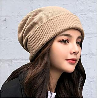 WYMAI Wool hat Female Thin Section Knit hat Head Baotou hat Simple Wild Winter Windproof hat Fashion Warm hat Black Simple and Practical Product (Color : Brown)