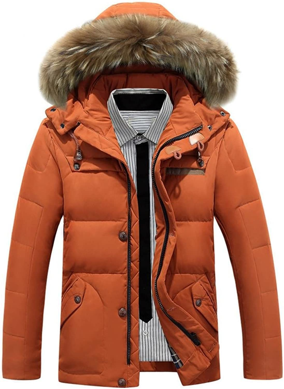 ZZHH down jacket Men 's hooded fur collar short down jacket