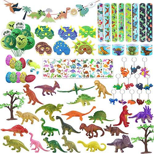 CGBOOM Dinosaurios Fiesta Juguetes, Huevo Dinosaurio Agua Figuras Mascaras Slap Pulsera Dinosaurios Tatuaje Pegatina Llavero Globos de cumpleaños y Banner para Niños Dinosaurio Fiesta Cumpleaños