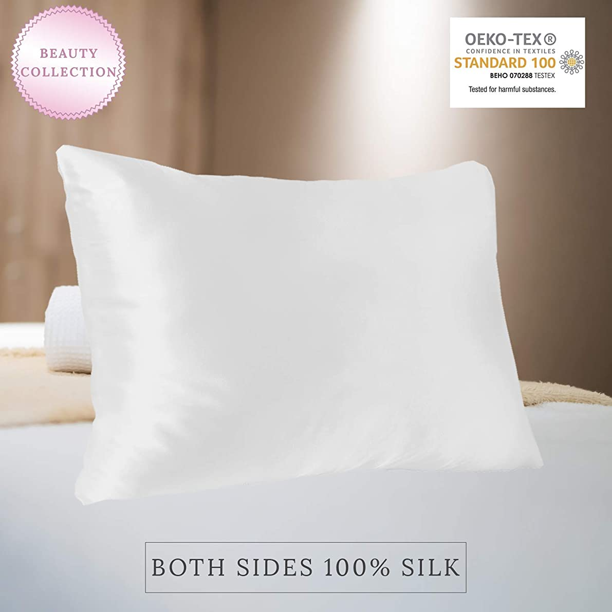 MYK 100% Pure Natural Mulberry Silk Pillowcase, 22 Momme for Hair and Skin Care, OKEO-TEX, Standard Size, Ivory White