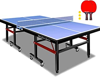 Stansom Professional Foldable Table Tennis Tables with Cover, 18mm Tabletop 40mm Legs Ping Pong Table with 2 Rackets 3 Bal...