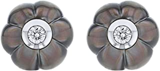 Galatea 14k White Gold Diamond In A Pearl Dark Poppy Earrings