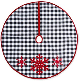 48 Inch Buffalo Plaid Christmas Tree Skirt Black and White Checkered with Red Snowflakes for Rustic Xmas Decorations