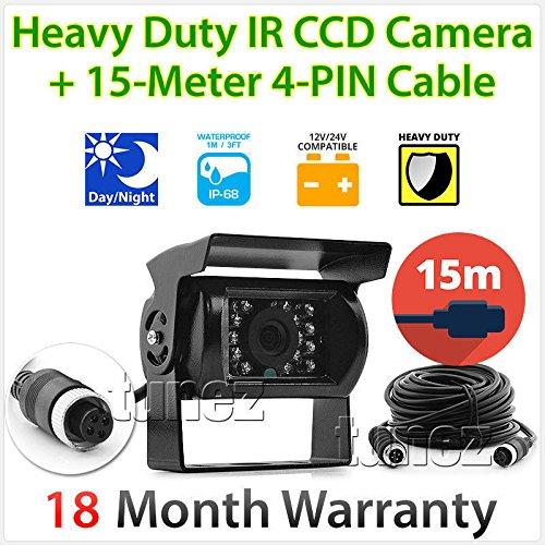 tunez 4PINCCDIR15 Caméra de recul 4 broches 12 V 24 V CCD IR Couleur Câble de 5,10,15,20 m