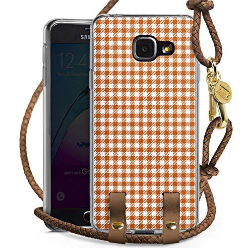 Carry Case kompatibel mit Samsung Galaxy A3 Duos 2016 Handykette Handyhülle zum Umhängen Karo Picknick Decke