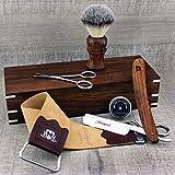 Komplettes Palisander Old Style Klassisches Barbier Rasierset - Vintage Rasur - Rasiermesser,...