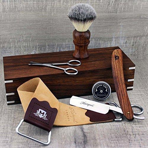 Komplettes Palisander Old Style Klassisches Barbier Rasierset - Vintage Rasur - Rasiermesser, Lederriemen, Synthetic Badger Brush, Nasenpflege Schere & Palisander Rasierkiste