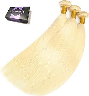 Suttie 613 Platinum Blonde Straight Real Hair Weave 3 Bundles Human Brazilian Hair 6Z141414