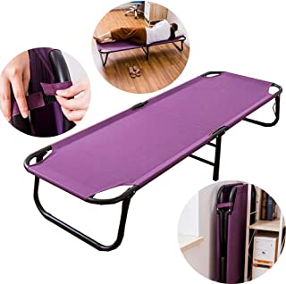 Single Folding Bed Frame,Folding Bed Canvas Sheets Person Nap Bed Portable Outdoor Camping Bed, Purple 170.5 * 57.7 * 30.5Cm
