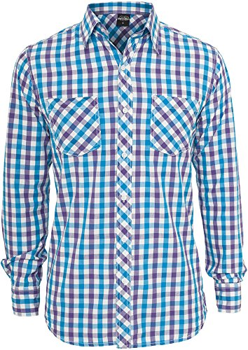 Urban Classics Tricolor Big Checked Shirt Chemise Casual, Multicolore (Purwhttur 00361), Medium Homme