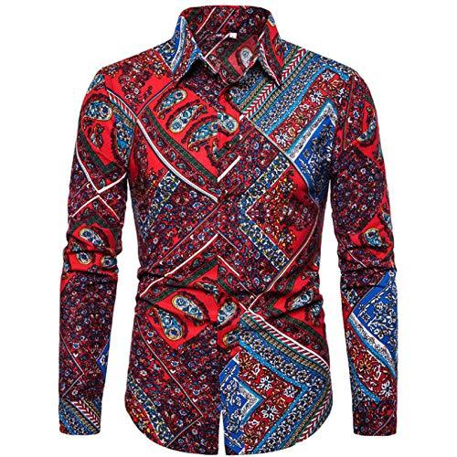 Owenqian Hombre Camisas, Camisa de Vestir para Hombre con Estampado de pájaros Florales, Camisas Casuales Ajustadas a la Moda para Hombres, Camisa de Manga Larga para Hombres sociales Diarios, Ropa