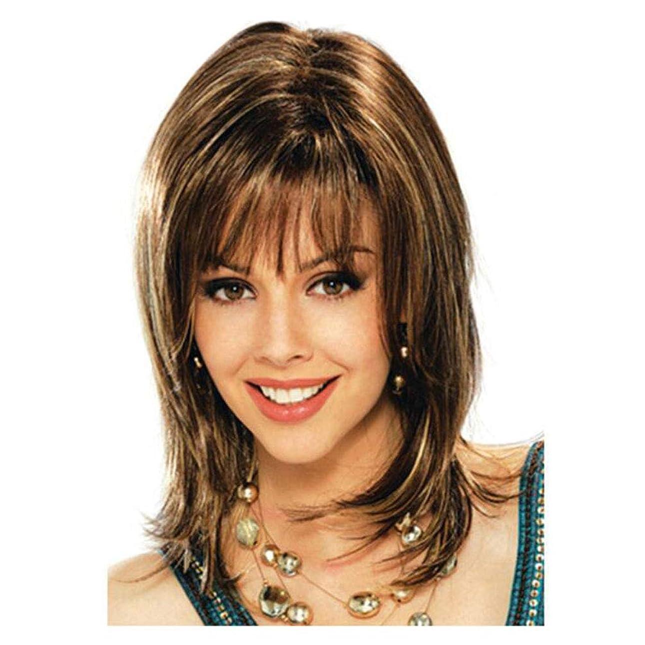 花瓶大学院ロビーウィッグかつらショートカーリーライトブラウンハイライト耐熱合成前髪とともに女性