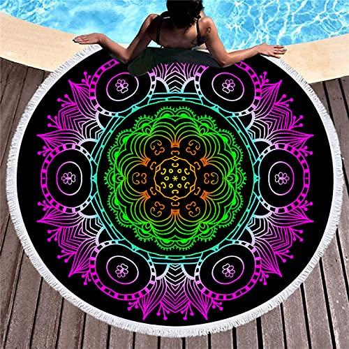 Mandala Color Geométrico Impresión Digital Toalla De Playa Redonda Borla De Microfibra Manta De Playa Toalla De Baño Absorbente De Secado Rápido 150 * 150cm