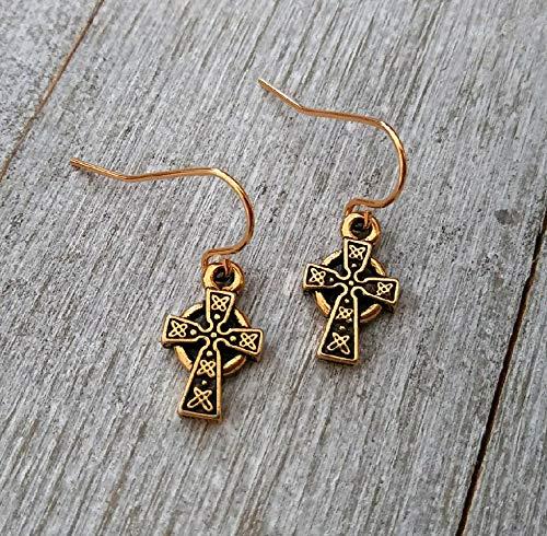 Celtic cross earrings, Gold Cross Earrings, Gold Plated Steel Earwires, Cross earrings, Small Cross Earrings, religious gifts, Baptism earrings, Communion, Irish, Scottish gifts