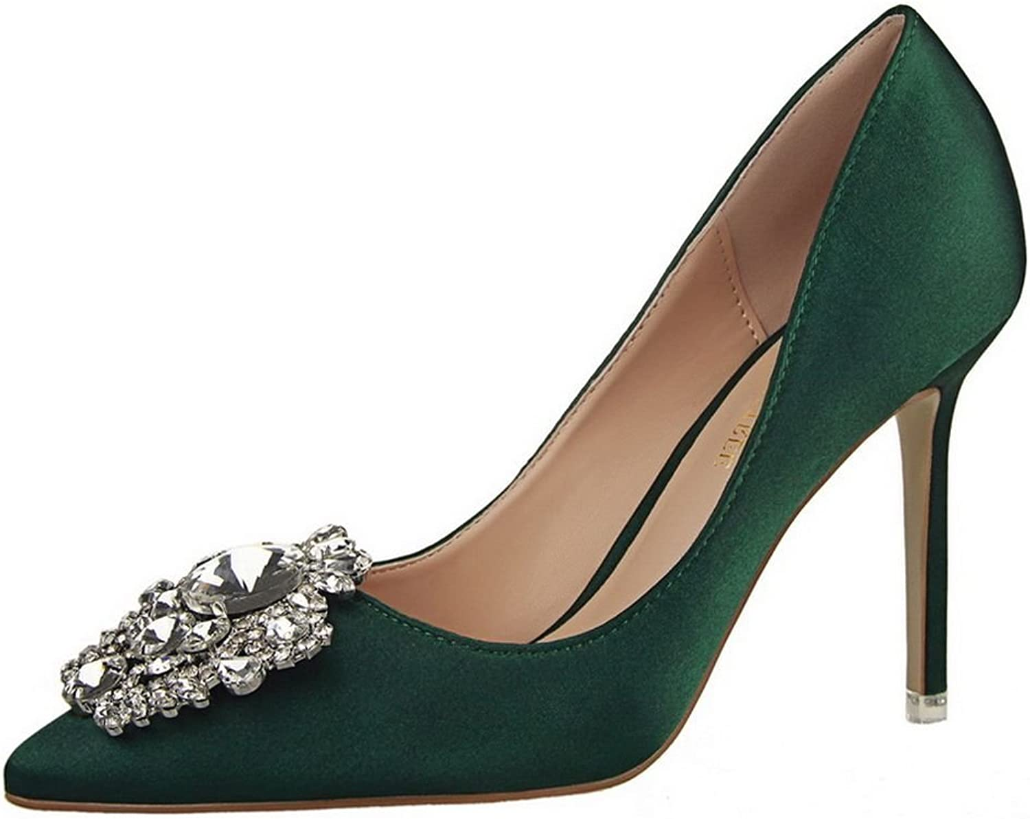 Ryse Women's Fashionable Delicate Rhinestone Sexy Temperament Thin High Heels Pointy shoes