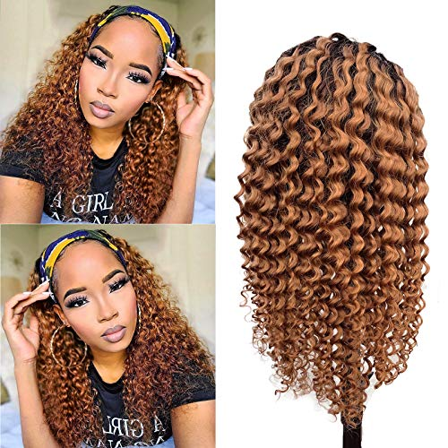 Ombre Brown Human Hair Headband Wigs Kinky Curly Natural Black Hair to Auburn Brown Glueless None Lace Front Headband Scarf Wigs Machine Made Brazilian Virgin Hair for Women (16 inch) 150% Density