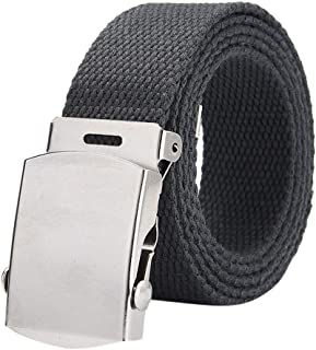 CapsA Elastic Stretch Belt Solid Color Military Style Metal Nylon Tactical Hiking Belt Webbing Canvas Outdoor Web Belt with Metal Buckle