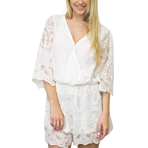 4c77f297a96 YUMDO Women Playsuit Romper Convertible Plunge V Neck Sleeveless