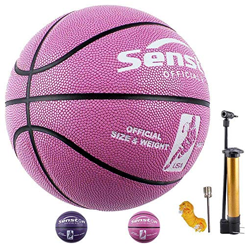 Senston Basketball Mädchen/Frau Größe # 6 Fluoreszenz Kunstleder Basketbälle Ball für Ausbildung/Geschenk