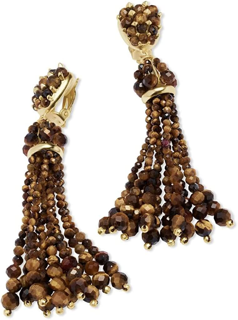 Kendra Scott Cecily Gold Clip on Statement Earrings in Brown Tigers Eye