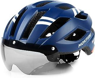 MOKFIRE Casco de Bicicleta de montaña con luz Trasera LED de Seguridad Gafas magnéticas Desmontables Cascos de Ciclismo de...