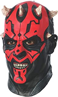 Star Wars Darth Maul Deluxe Adult Overhead Latex Mask, Red, One Size